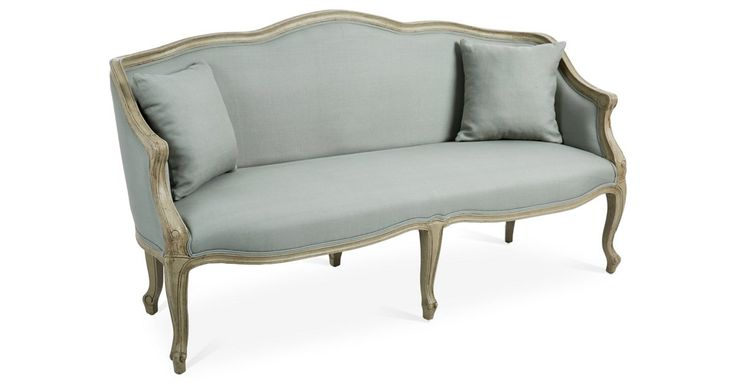 Example use for estate sale piece. But in flax linen, not grey. {for reference: 70* sofa (reg. $3215./OKL $1949)}