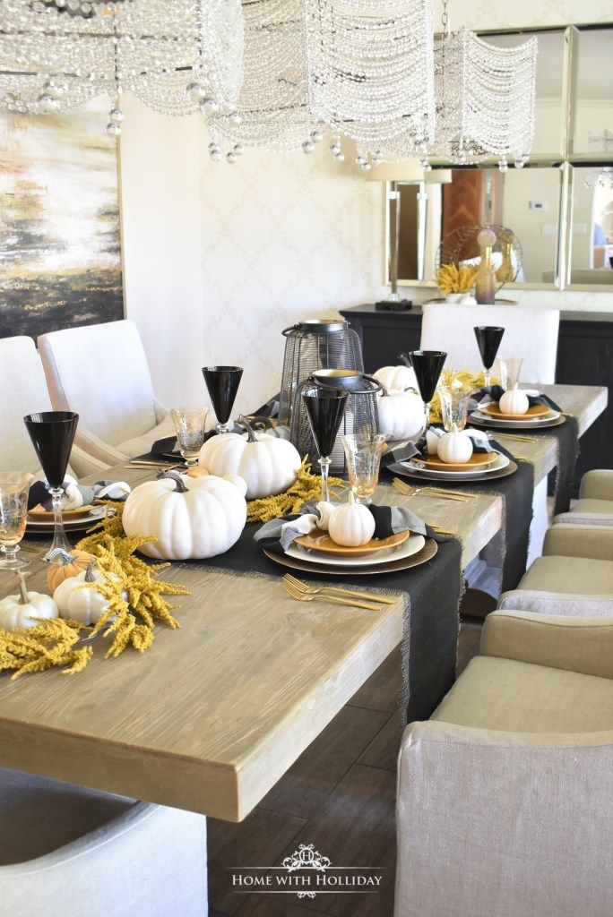Rustic Harvest Gold Fall Tablescape With Black White Accents