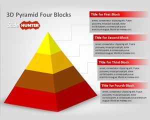 Free 3D Pyramid template for PowerPoint with Four Blocks and Five Blocks is a free PowerPoint template with awesome 3D graphic that you can download to show hierarchical data or represent a pyramid with PowerPoint