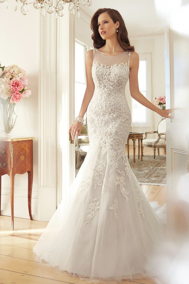 2015 Wedding Dresses Scoop Trumpet/Mermaid Court Train With Applique And Beads Tulle USD 289.99 EPPY3NXTHZ - ElleProm.com