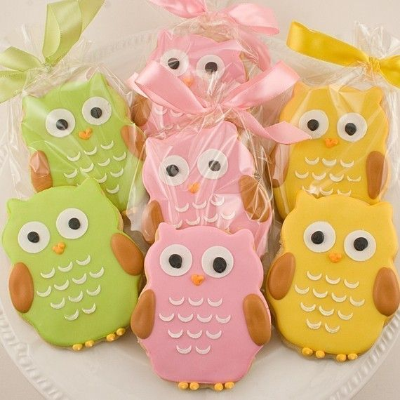 Owl Cookie Favors  2 Dozen Decorated Sugar Cookies by TSCookies, $60.00