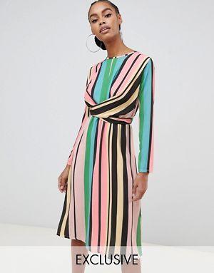 4c59a470360 Boohoo exclusive wrap front tie back midi dress in pastel stripe ...