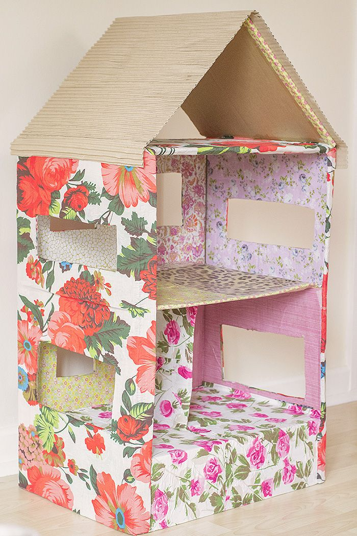 Absolutely beautiful cardboard box dolls house from Let's Do Something Crafty