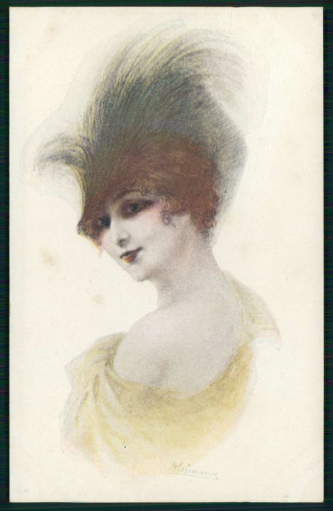 art Cremieux Parisian Doll glamour feathers Hat fashion Lady old 1910s postcard