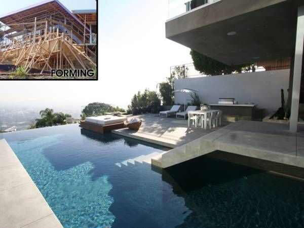View Looking Out From The House And View Of Form Work As The Pool Was Being  · Hillside PoolPool DesignsSwimming ...