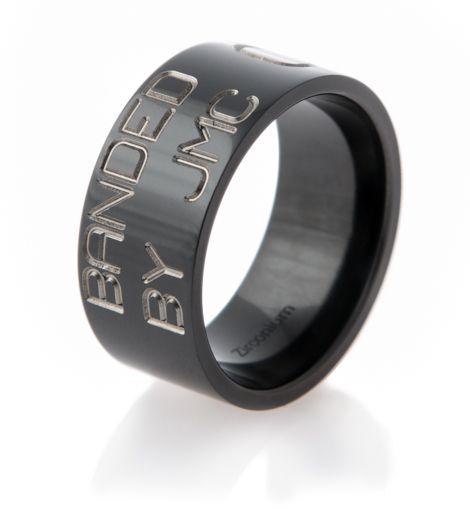 mens black zirconium duck band wedding ring - Duck Band Wedding Ring