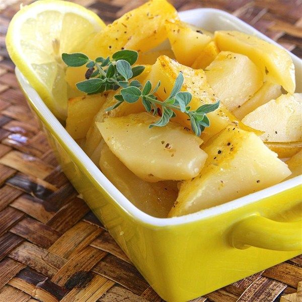 """Greek-Style Lemon Roasted Potatoes I """"I love lemon potatoes from my neighborhood Greek restaurant and this recipe is just about as close as you can get to theirs!"""""""