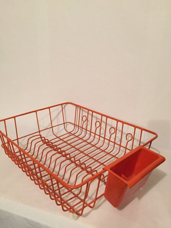 Vintage Orange Kitchen Dish Drainer Tupperware by GirlGoesVintage