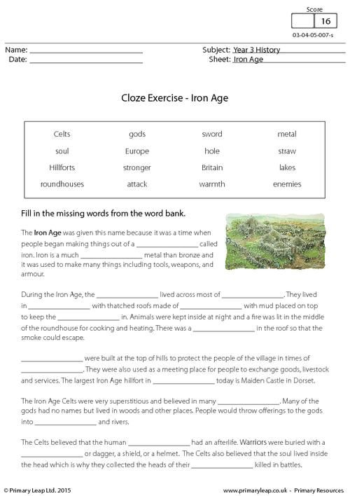 cloze exercise the iron age worksheet history printable worksheets. Black Bedroom Furniture Sets. Home Design Ideas