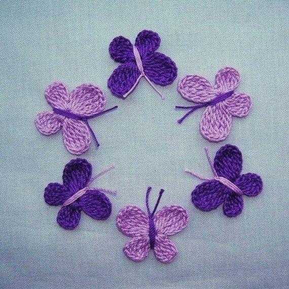 6  Handmade  Crocheted  Purple  Butterflies  Appliques/crafts/Scrapbook