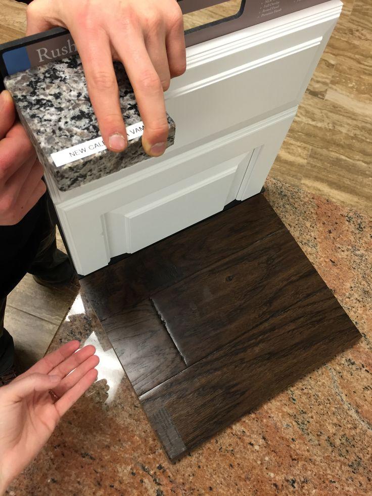 New Caledonia Granite   Painted Linen Rushmore cabinets   Tumbleweed hardwood floors                                                                                                                                                                                 More