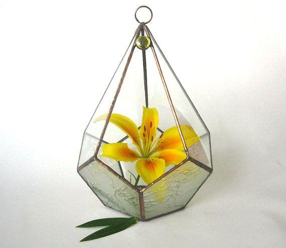 Terrarium for sale! -15%.Terrarium polyhedron.Stained glass terrarium.Geometric terrarium.Planter for Indoor Gardening