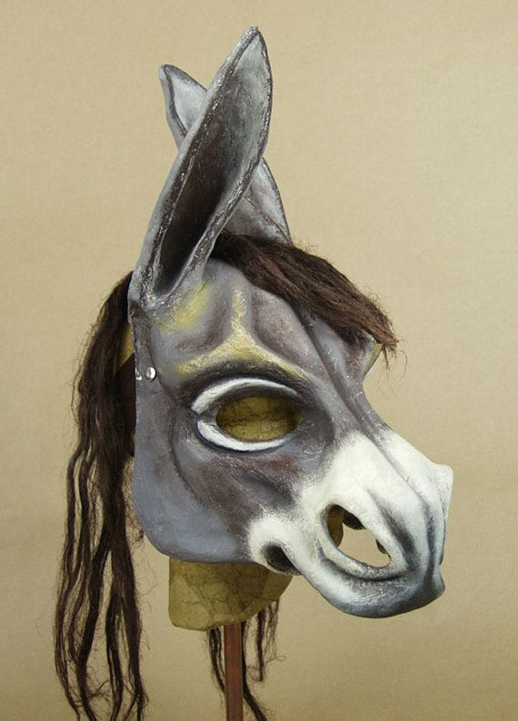 Donkey mask with hemp-fibre mane This mask is entirely hand-made in papier maché using the traditional methods of Venetian master mask makers: