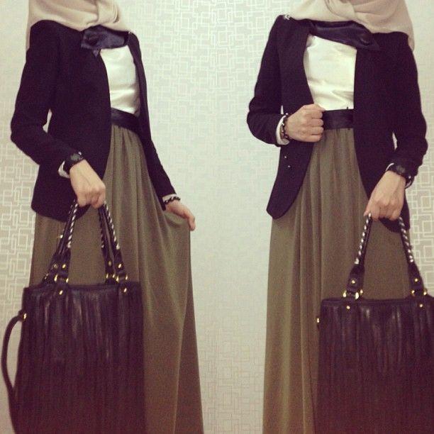 Olive maxi skirt, white top, black blazer