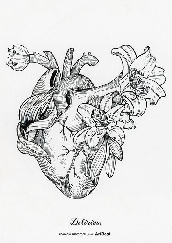 Ilustração coração da artista brasileira Marcela Ghirardelli;: