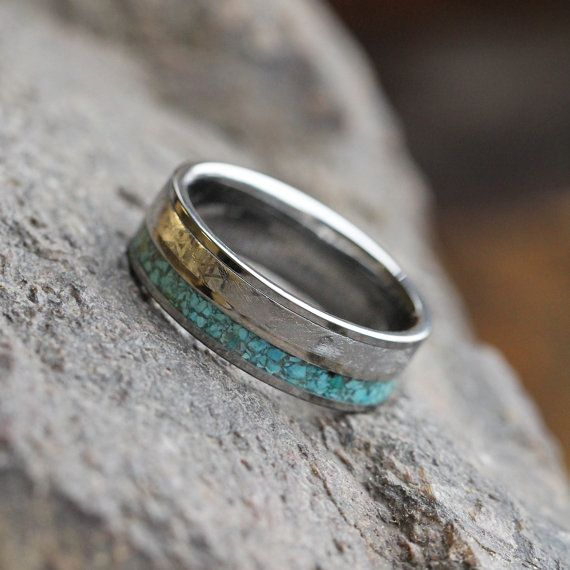 Crushed Turquoise Wedding Band, Gibeon Meteorite Ring With Titanium Pinstripe, Tungsten Ring