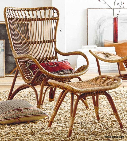 Inspired by 1960's European designs, our curvaceous Lar's chair and ottoman are made from durable bent rattan, to last for many years to come. Unlike bamboo, rattan is solid and durable yet very bendable, making it the perfect choice for furniture design. An appealing, environmentally-sustainable material, rattan usually regenerates in five to seven years.