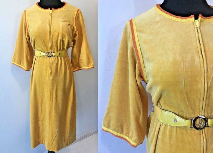 Vintage Miss Onward Yellow Orange Velour Antique Bicycle Belt Dress size S DS17 #MissOnwardbyOnward #ShirtDress #Everyday