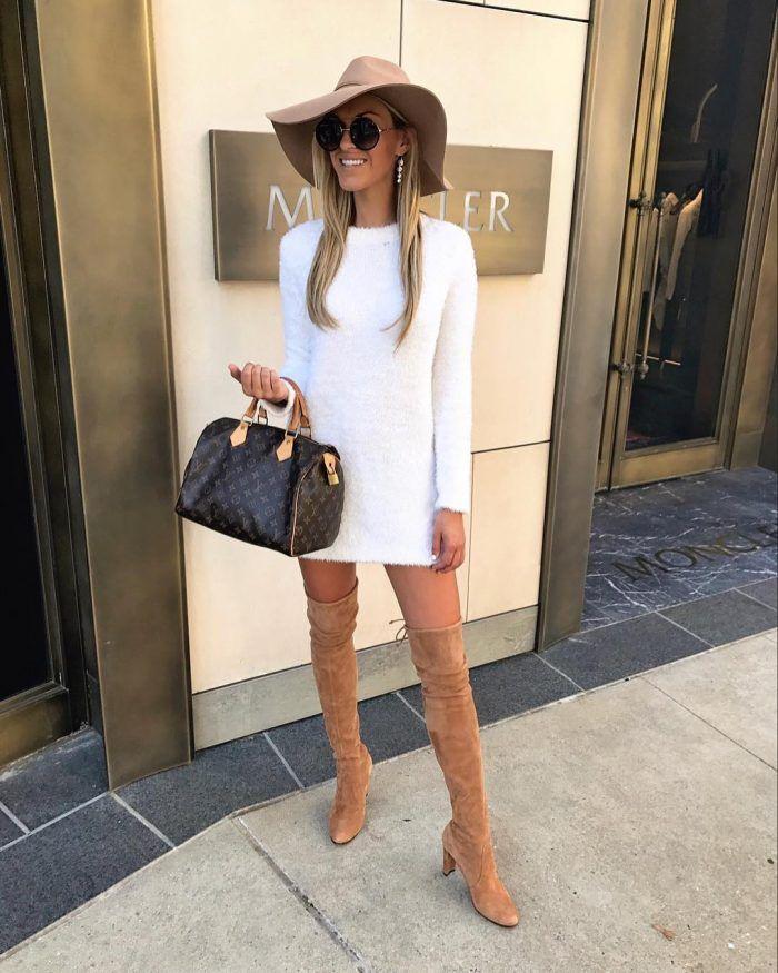 Little White Dress + ODK boots Fall Outfit by Macy Stucke (Stuck On Style) (@macystucke)