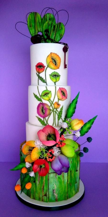 Poppies bunch wedding cake. by lumipo - http://cakesdecor.com/cakes/254638-poppies-bunch-wedding-cake
