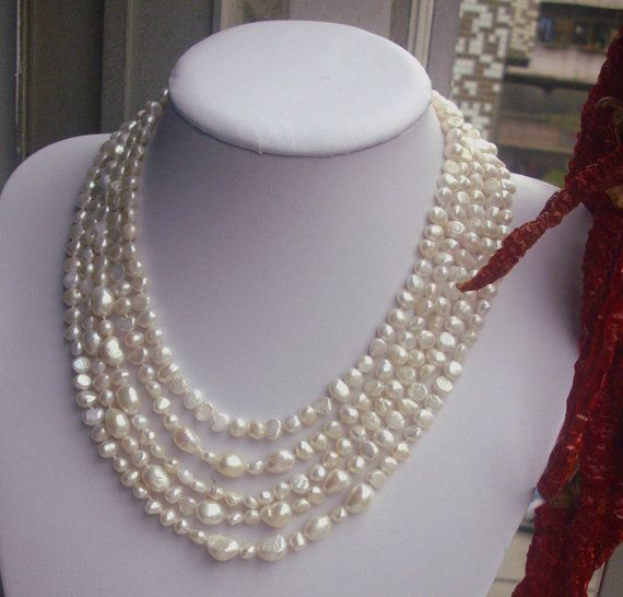 Long Pearl Necklace 100 Inches (612 MM) white freshwater Pearl Baroque Pearl Necklace, $24.00 Etsy by goodgoodjewelry