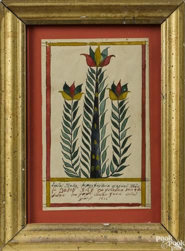 Vibrant Bucks County, Pennsylvania ink and watercolor fraktur bookplate, dated 1866, for Jacob Kolb, with three stylized tulip trees, 5'' x 3 1/4'