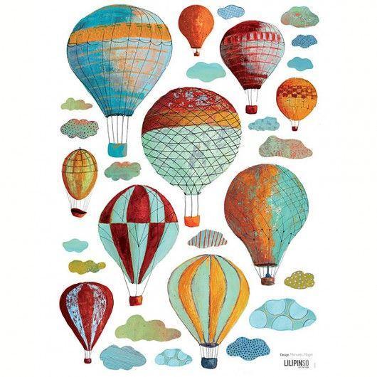 Hot air balloon wall stickers