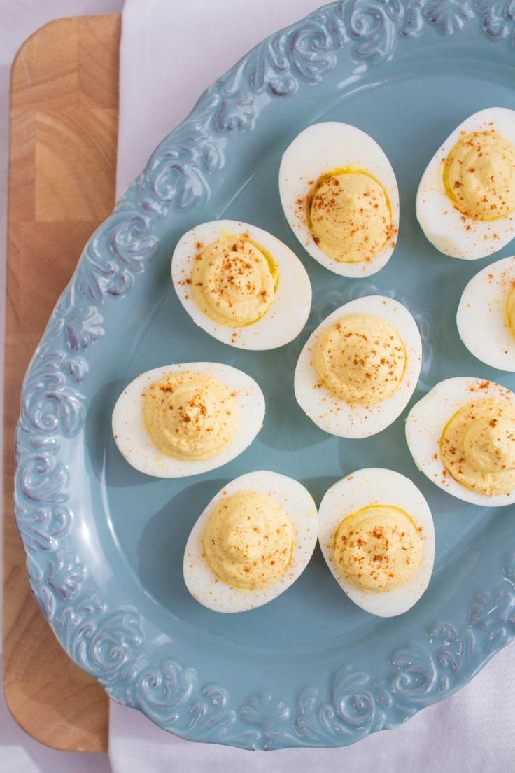 Healthy deviled egg recipe made with Greek yogurt. Can't wait to try this.