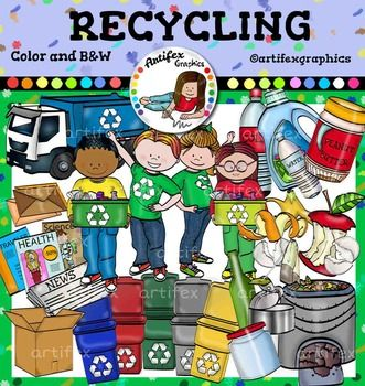 Recycling Clip Art features 50 items: 27 clip arts in color. 23 clip arts in black & white.apple core,banana skincardboard boxcola bottlecompost bineggshellsempty canenvelopesglass bottleglass jarliquid detergent bottlemagazinesnewspaperorange peelpeanut butter jarrecycle bin (blue, yellow, red, grey, green)tea bagtruckwater bottlekid1kid2kid3kid4All images are 300 dpi, Png files.This clipart license allows for personal, educational, and commercial small business use.