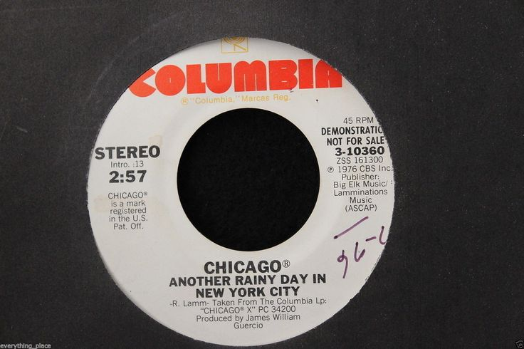 Chicago Hope For Love b/w Another Rainy Day In New York City Promo 45-rpm Record