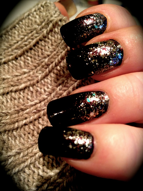 OPI Octoberfest 2 coats with OPI Spark de Triomphe glitter gradient #polishednails #glitternails #nailart #longnails #gradient