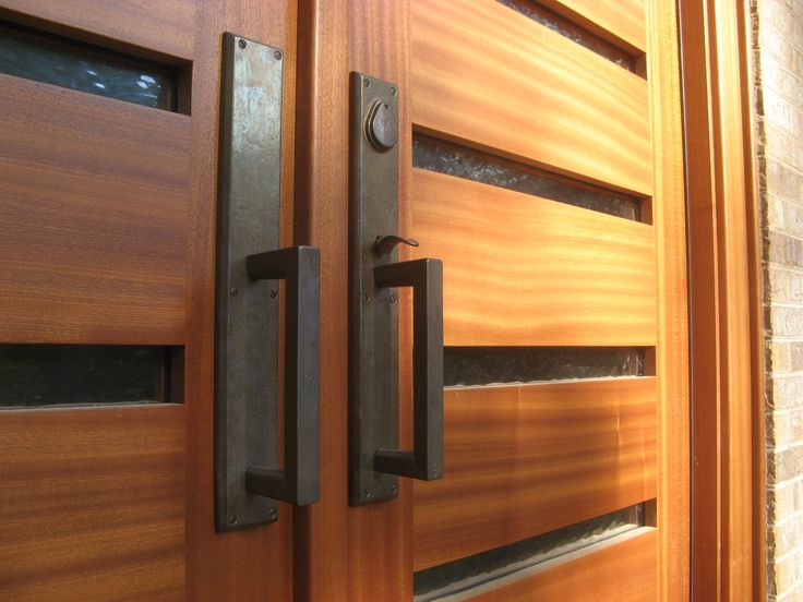 Fantastic Modern Front Door and Exterior Ideas: Alluring Natural Oak Double Modern Front Door With DIY 2 Push Pull Black Iron Handles Door And Small Lite Entrance Door As Exterior Decoration Home Ideas