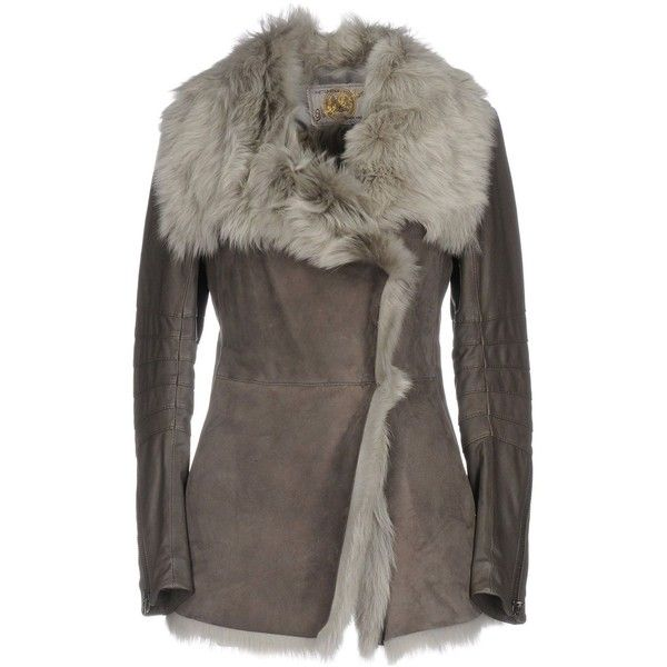 Vintage De Luxe Coat (1,150 CAD) ❤ liked on Polyvore featuring outerwear, coats, grey, gray leather coat, long sleeve coat, grey coat, gray coat and single-breasted trench coats