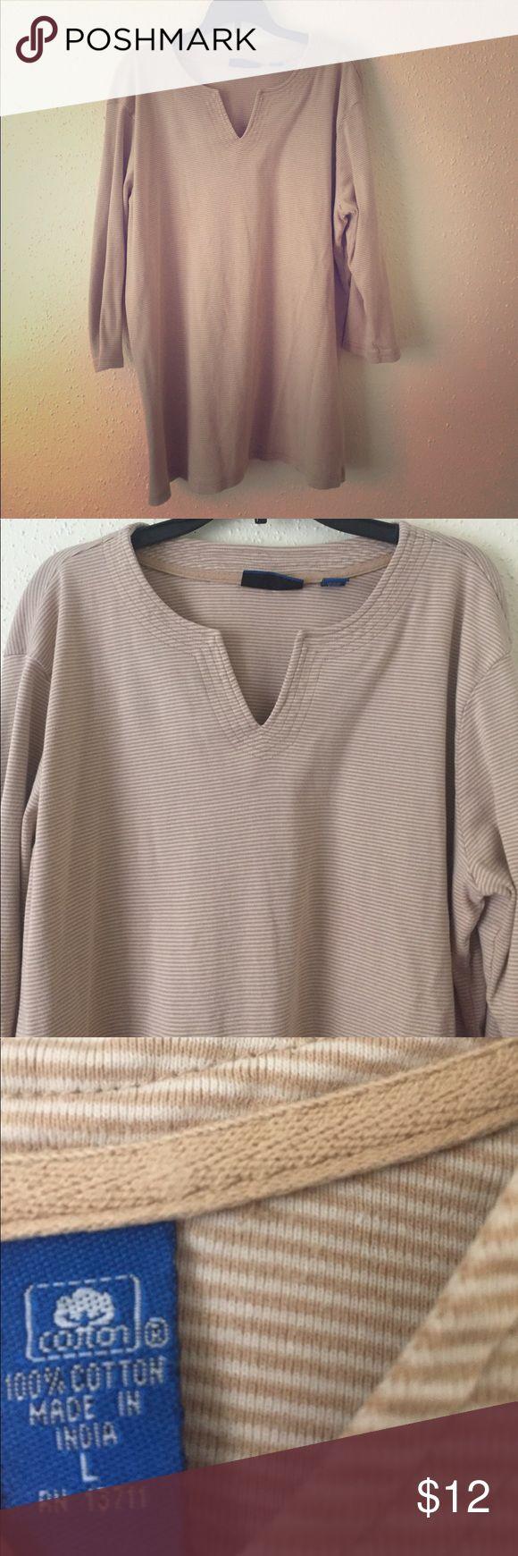 """Karen Scott Sport Cotton Top Sporty cotton top with 3/4"""" sleeves. Gently worn. Karen Scott Tops Tees - Short Sleeve"""