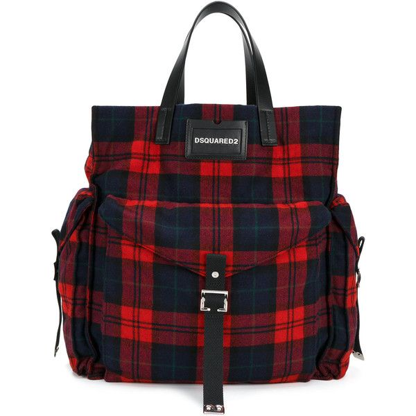 Dsquared2 tartan shopper tote ($590) ❤ liked on Polyvore featuring men's fashion, men's bags, blue, mens utility bag, mens military messenger bag and mens leather bag