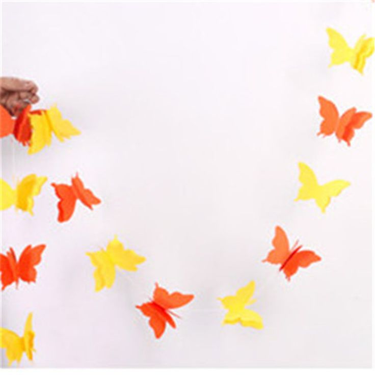 Orange Butterfly 2.8Meters/One Colorful Ribbon Wedding Birthday Decoration Hanging Party Suppliers  Streamers