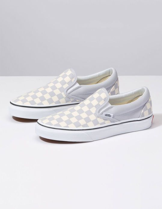 VANS Checkerboard Gray Dawn & True White Womens Slip-On Shoes ...