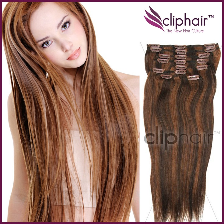 Clip In Hair Extensions Chocolate Brown Auburn