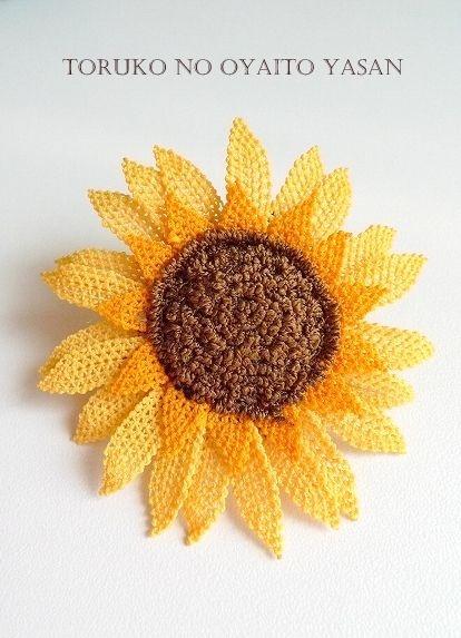 silk sunflower Needle Lace Turkish
