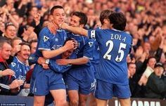 Terry celebrates with team-mates Jody Morris, Jon Harley and Gianfranco Zola after netting his first goal for the club, a header against Gillingham in the FA Cup in 2000 - The Blues went on to win the trophy in the last final at the old Wembley