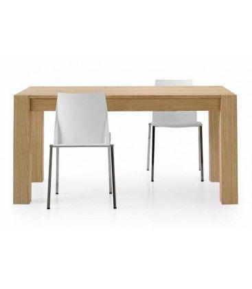 #Tavolo in #legno rovere naturale spazzolato #allungabile con sistema di apertura con guide. 2 allunghe da 50 cm.
