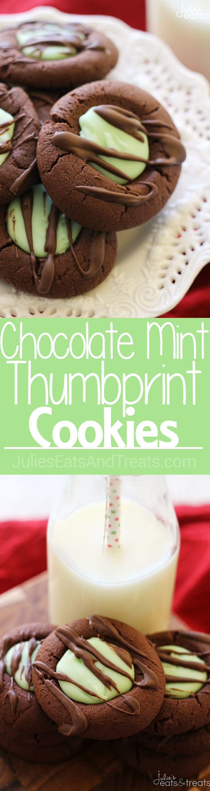 Chocolate Mint Fudge Thumbprint Cookies ~ Soft Chocolate Thumbprint Cookies Stuffed with Mint Fudge! via @julieseats