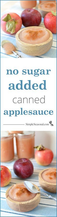 No-Sugar-Added Canned Applesauce - Want a sweet treat that's natural and healthy? Canning your own applesauce is fun and rewarding. The best part is, you'll have plenty of sweet, delicious applesauce to last all through the winter! Visit Simple Seasonal for a comprehensive guide on how to can applesauce at home, complete with step-by-step instructions and tons of photos!