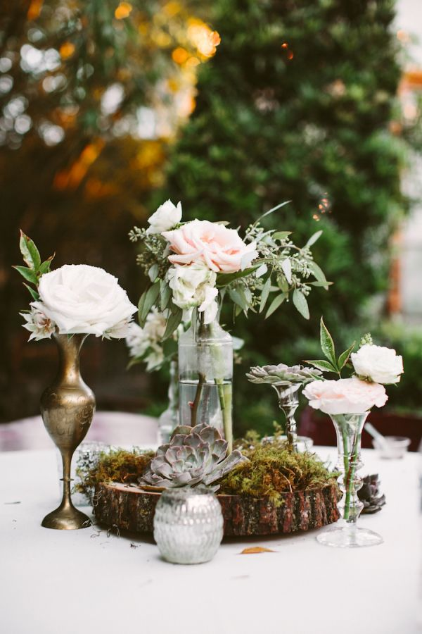 Succulent and rose garden centerpieces: http://www.stylemepretty.com/louisiana-weddings/new-orleans/2015/11/05/romantic-southern-wedding-at-race-religious/ | Photography: Glass Jar - http://glassjarphotography.com/index2.php#!/HOME
