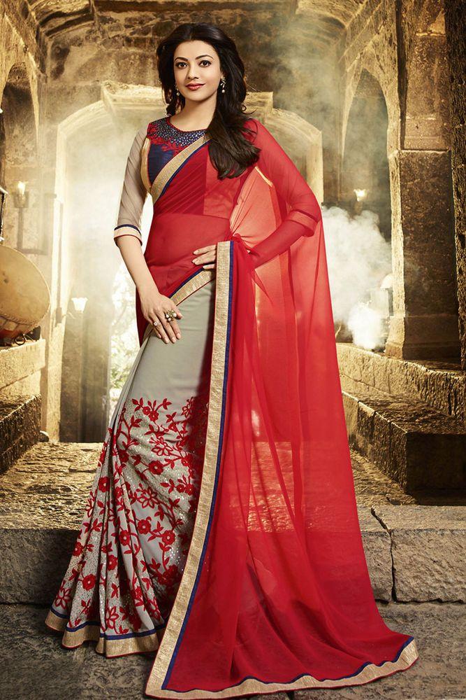 Kajal Agarwal New Indian Bollywood Designer Georgette Embroidered Saree/Sari/ | eBay