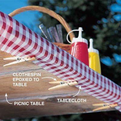 Picnic Table Cloth Preserver: Clothespins & EPOXY! | Super Glue Blog