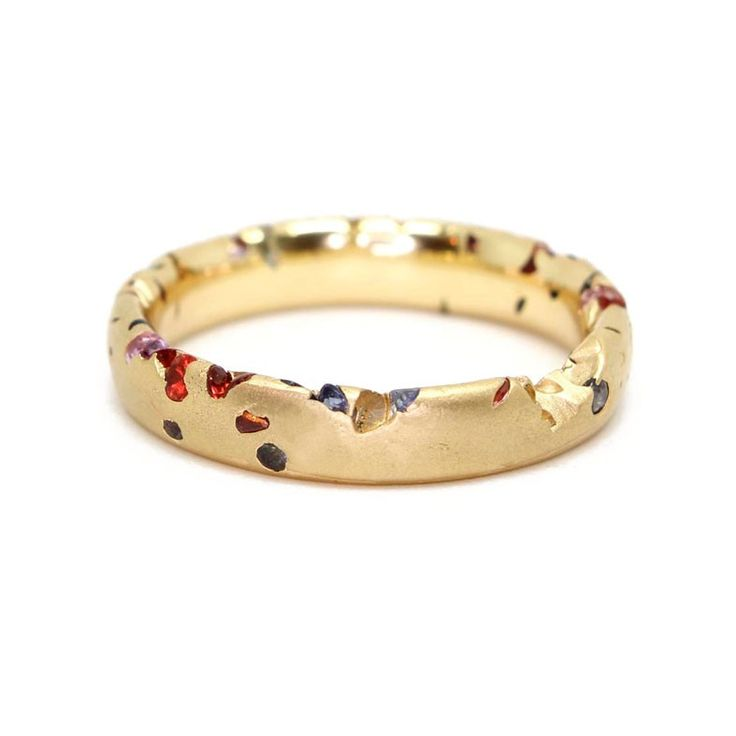 Polly Wales: Eroded Rainbow Sapphire Crystal Unusual engagment wedding Ring