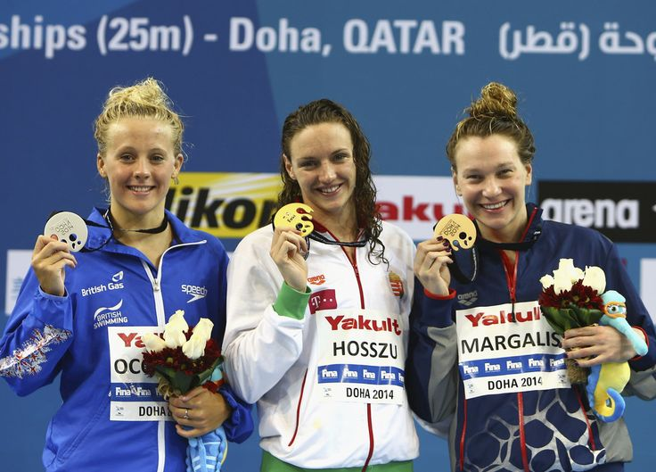 (L-R) Siobhan-Marie O'Connor of Great Britain, Katinka Hosszu of Hungary and Melanie Margalis of the USA
