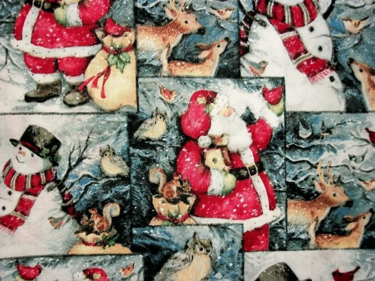 Christmas Fabric Snowmen Santa Winter Scene By The Yard Quilting Sewing Steele Creek Studios Winter Woodland Scene Collection by NeedlesnPinsStichery on Etsy