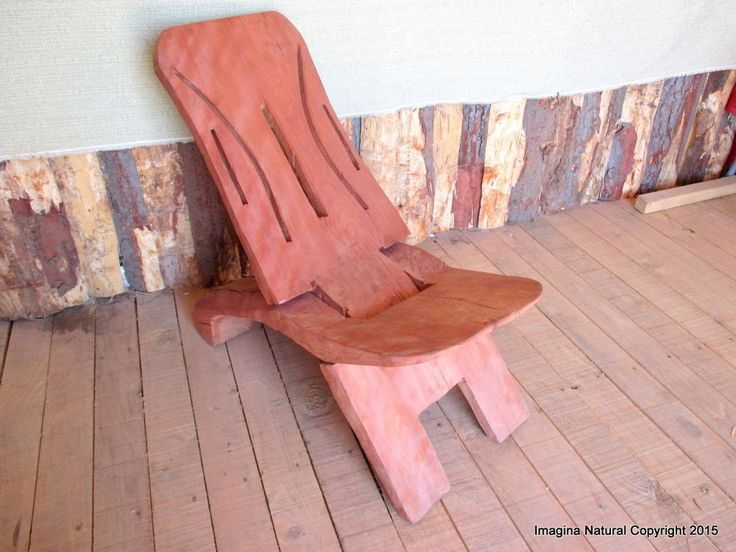 Handmade Indigenous Chilean Design Oak Reclining Chair Carved from single piece #handmade #RusticPrimitive